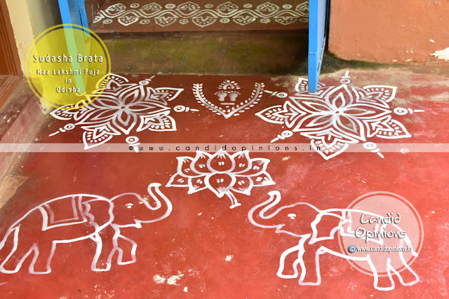 Chita Jhoti at the Entrance of the house drawn using paste of grounded rice grains on Sudasha Brata