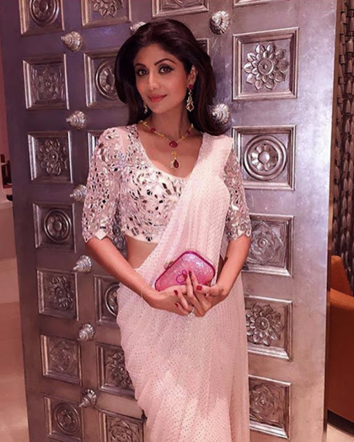 Shilpa Shetty Looks Elegant In This Regal Pink Saree By Monisha Jaising