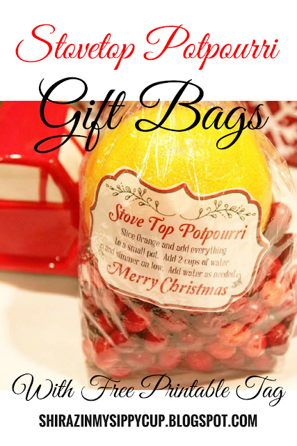 This year for Christmas, I decided to take my amazing Christmas stovetop potpourri and turn it into gift bags for my friends, co-workers and neighbors. This gift is so easy to put together, is easy on your budget and is so flexible in what you add that there's really no way to mess it up. I bought all my ingredients in bulk so I could assemble several bags at one time plus, it allows me to make a pot for myself while I'm putting together everyone's gifts.