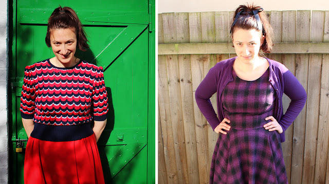 The Butterfly Balcony: Wendy's Week - Planes & Trains  - Me Made May 2016 Victory Jumper & Box Pleat Skirt // Butterick 5748 and my handmade Hair Bow