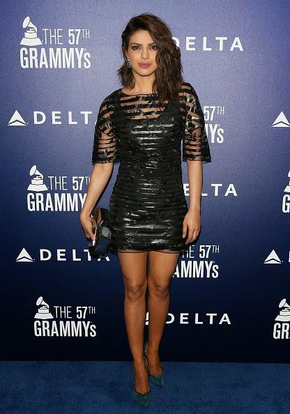 Priyanka Chopra in Black Mini-dress at Grammy Party