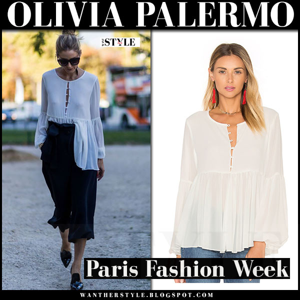 Olivia Palermo in white pleated button blouse lacademie the femme, black cropped trousers and black patent pumps gianvito rossi what she wore paris fashion week
