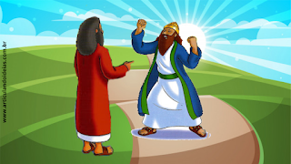 Profeta Elias conversando com o rei Acabe