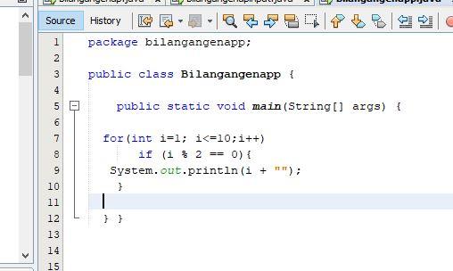 script java menampilkan deret bilangan genap 2 4 6 8 10