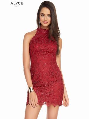 High Neckline Alyce Homecoming short Dress Claret Color