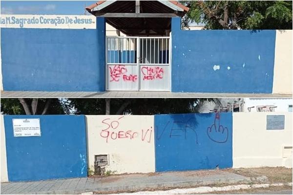 Escola Municipal de Tibau é alvo de pichações