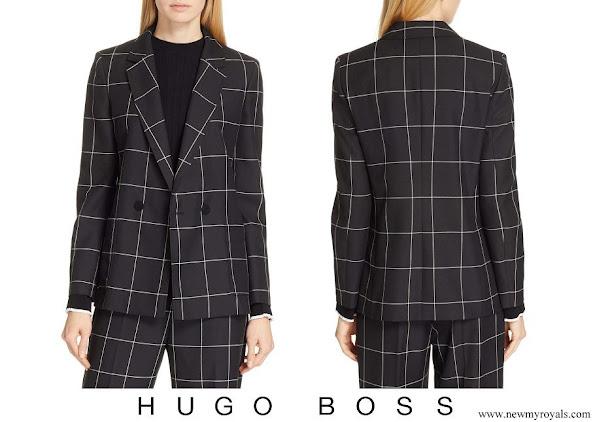 Queen Letizia wore Hugo Boss Ajanisa Windowpane Jacket
