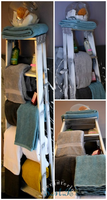A Wooden ladder re-purposed as a Towel Rack