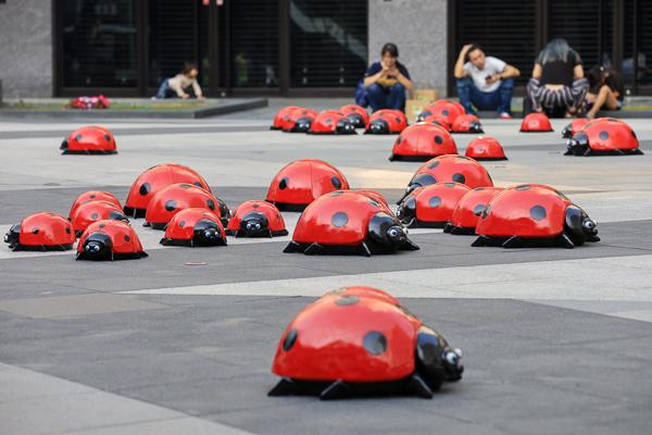 台中軟體園區大里藝術廣場活動,150隻小瓢蟲地景藝術展,可愛好拍