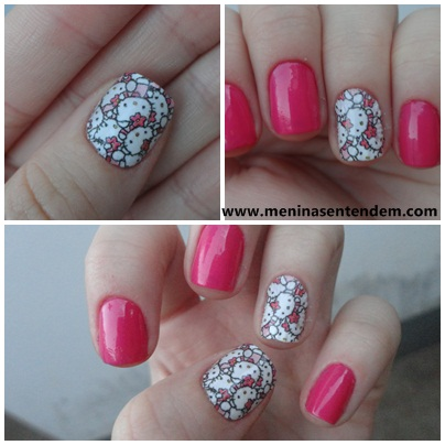 unhas rosa da hello kitty