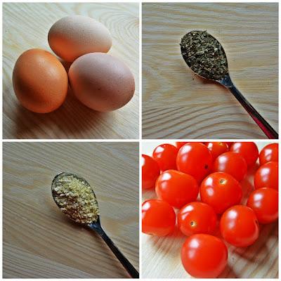 Frittata z jarmużem i pomidorami - składniki
