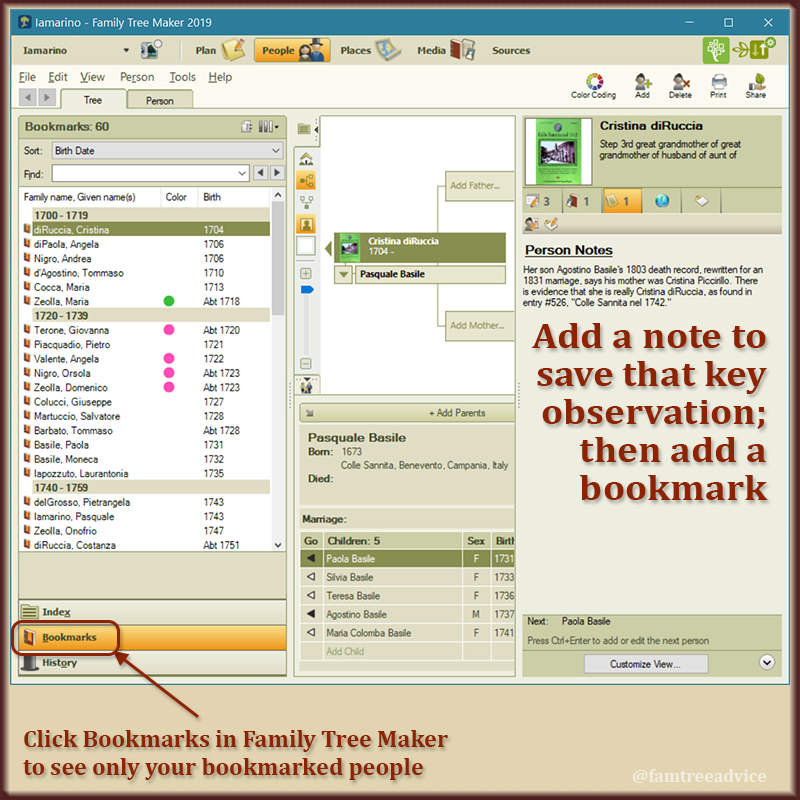 The Bookmarks feature of Family Tree Maker is an important way to keep your notes visible.