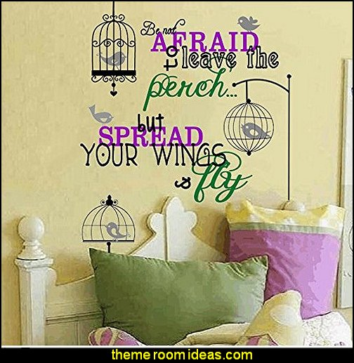 Spread Your Wings and Fly Bird and Birdcage Vinyl Wall Decal
