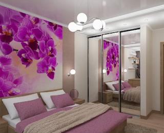 Contoh dinding kamar warna ungu dengan motif bunga anggrek