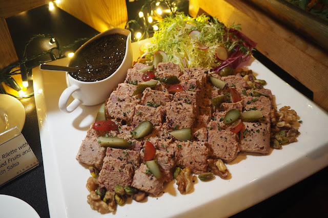 Marinated Duck Rillettes, Red Wine Dried Fruit Chutney, Gherkin Salsa