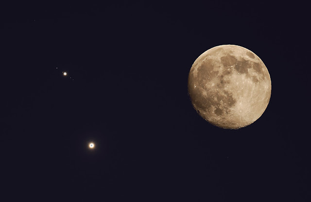 Moon, Venus, Jupiter and Moons