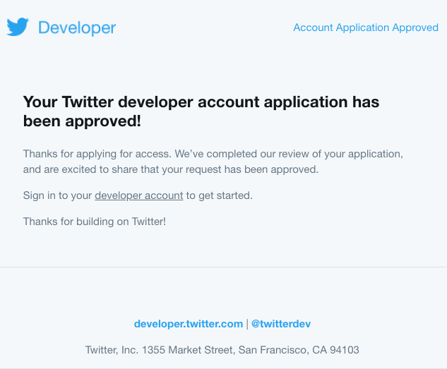 Twitter account approved