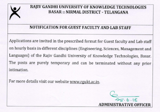 RGUKT Basar Lab Staff, Guest Faculty Notification 2018 & Syllabus 2018