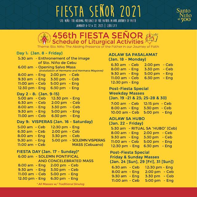 Sinulog 2021   Schedule of Liturgical Activities
