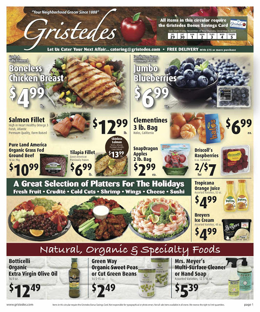 CHECK OUT ROOSEVELT ISLAND GRISTEDES Products, Sales & Specials For November 29 - December 1