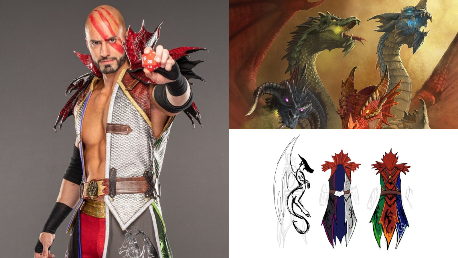Board Game News Collider AEW Wrestler Brandon Cutler Tiamat Costume DnD Dungeons and Dragons