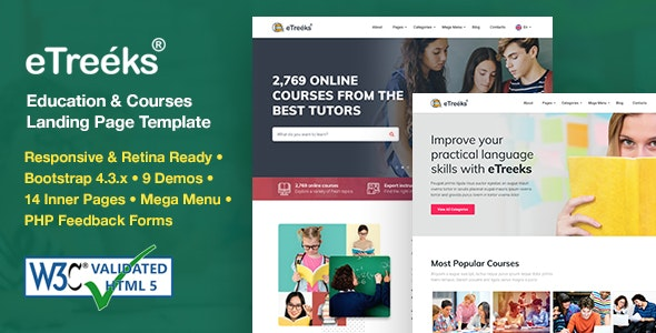 eTreeks - Online Courses & Education Landing Page Template Free Download, Nulled