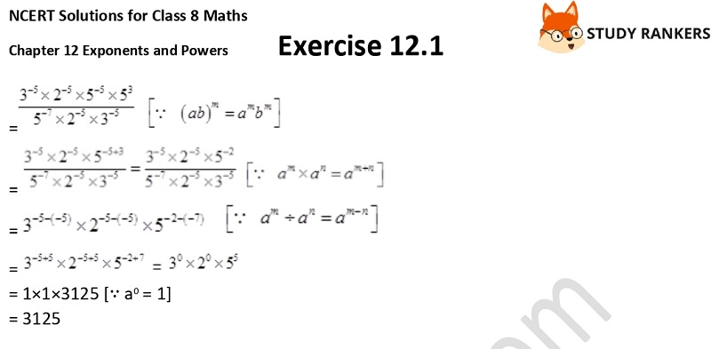 NCERT Solutions for Class 8 Maths Ch 12 Exponents and Powers Exercise 12.1 6