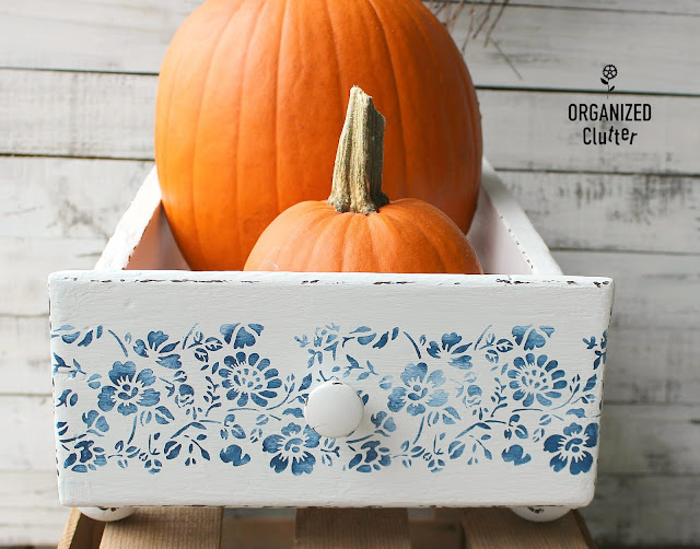 A Blue And White Upcyled Garage Sale Display Drawer #stencil #drawers #repurposed  #upcycled #vignette #containervignette