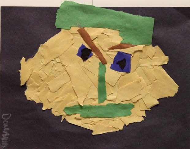 Kindergarten Portraits Ripped Paper Masterpieces Colton Pierrepont -4 Art
