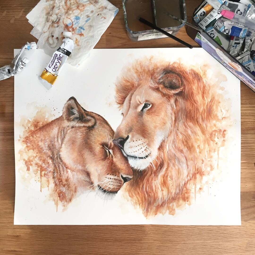 09-Lioness-and-Lion-Kathrin-Schwarz-Animal-Paintings-in-Different-Styles-www-designstack-co