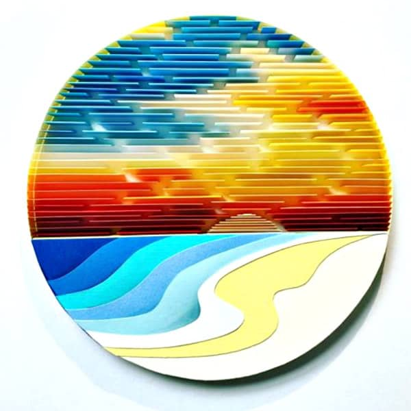 on-edge circular paper art sunset