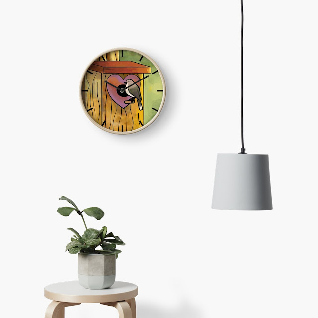 A clock of a cute birdhouse