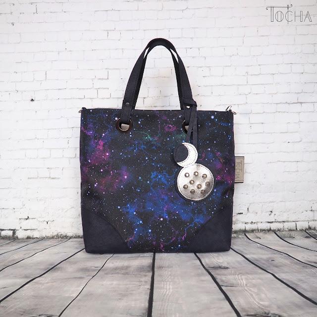 galaxy, moon, #innywymiarszycia, Washpapa, charms, cross-body bag, messenger bag, handbag, waterproof, washable paper, kraft paper,