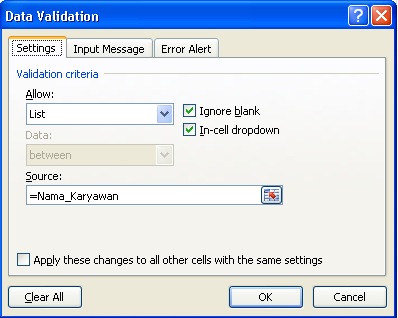 contoh setting data validation