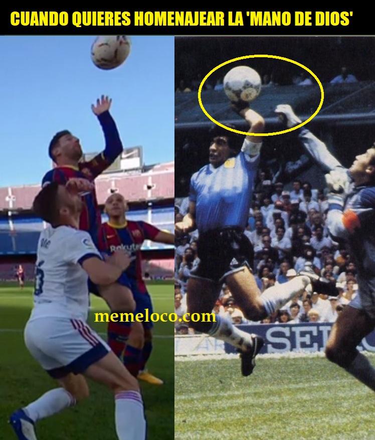 Messi homenajea a Maradona mano de dios barcelona osasuna