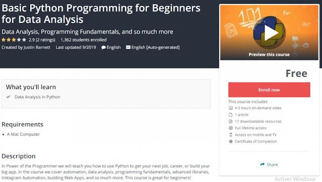 [100% Free] Basic Python Programming for Beginners for Data Analysis