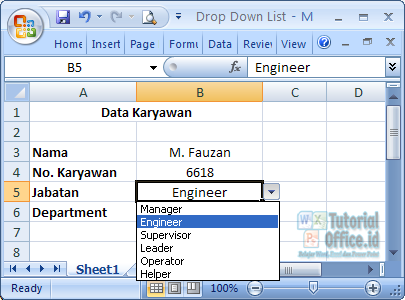 Menu Drop Down List Pada Excel