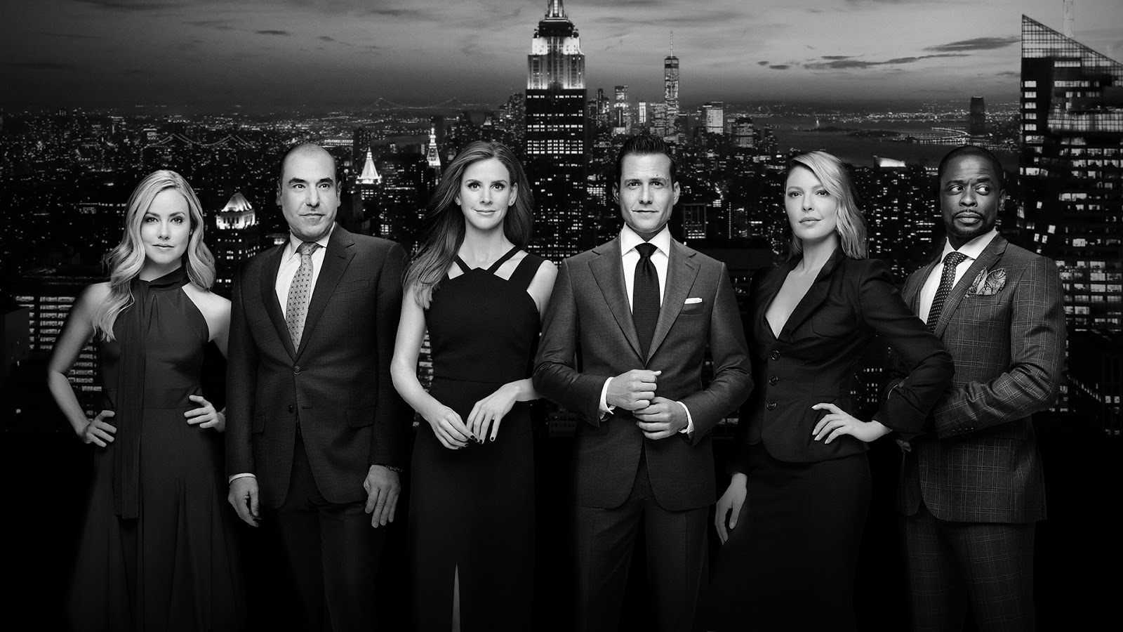 Katrina Bennett, Louis Litt, Donna Paulsen, Harvey Specter, Samanta Wheeler y Alex Williams en la temporada 9