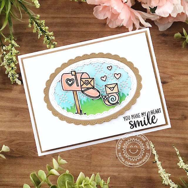 Sunny Studio Stamps: Snail Mail Just Bee-cuase Loopy Letter Frilly Frame Dies Friendship Card by Ashley Ebben
