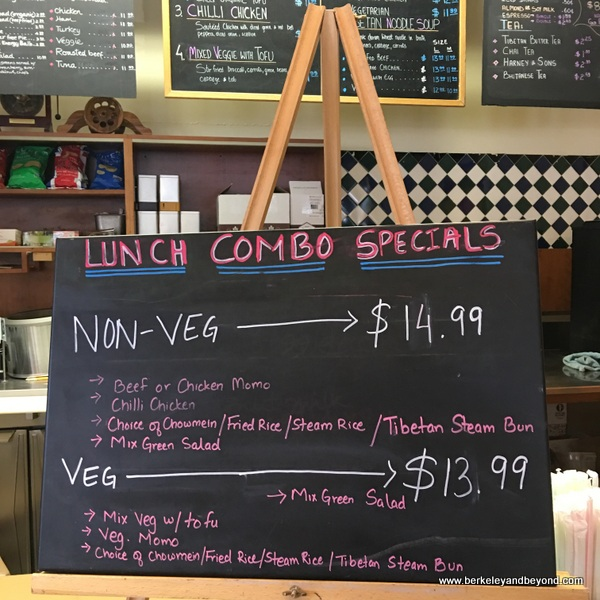 lunch special menu at Westside Organic Cafe in Berkeley, California