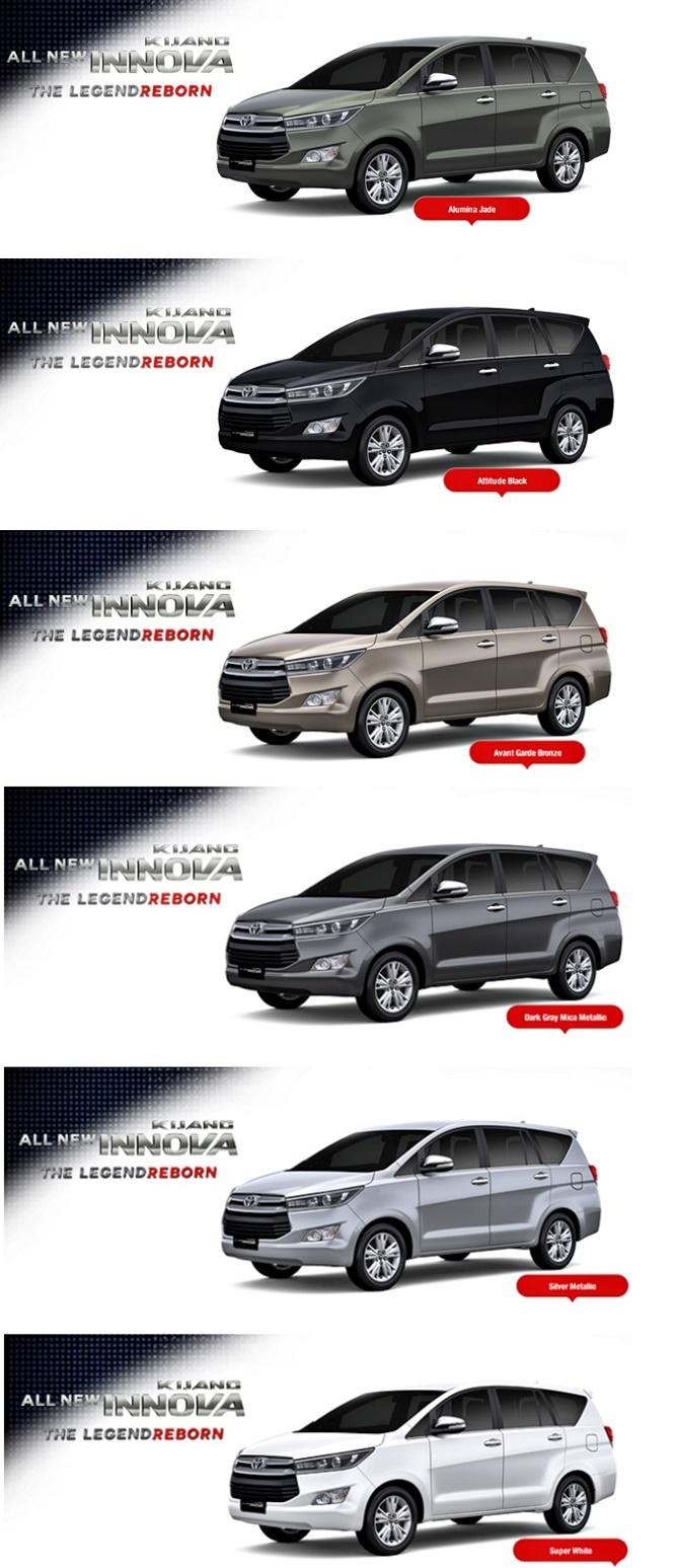 Pilihan Warna All New Kijang Innova Harga 2017 Tampang Anyar Toyota Terbaru Akriko Com