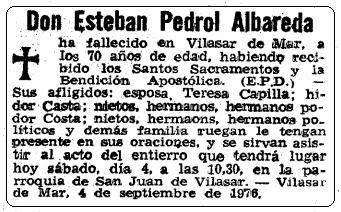 Esquela de Don Esteban Pedrol Albareda