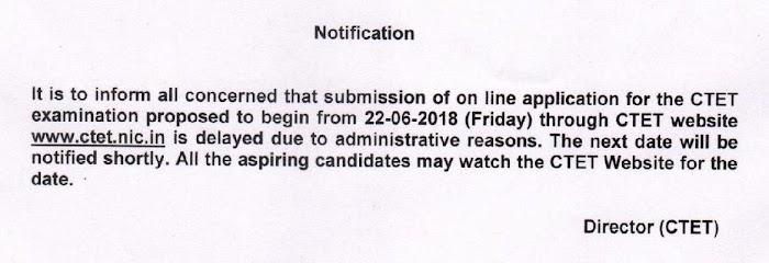 CTET परीक्षा, 2018 के आॅनलाईन आवेदन की प्रक्रिया स्थगित