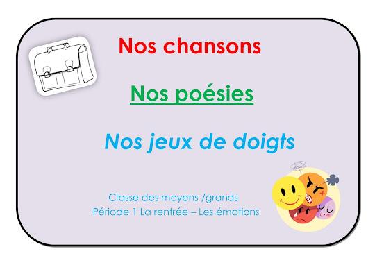 Répertoire chants, poésies et jeux de doigts - MS/GS période 1