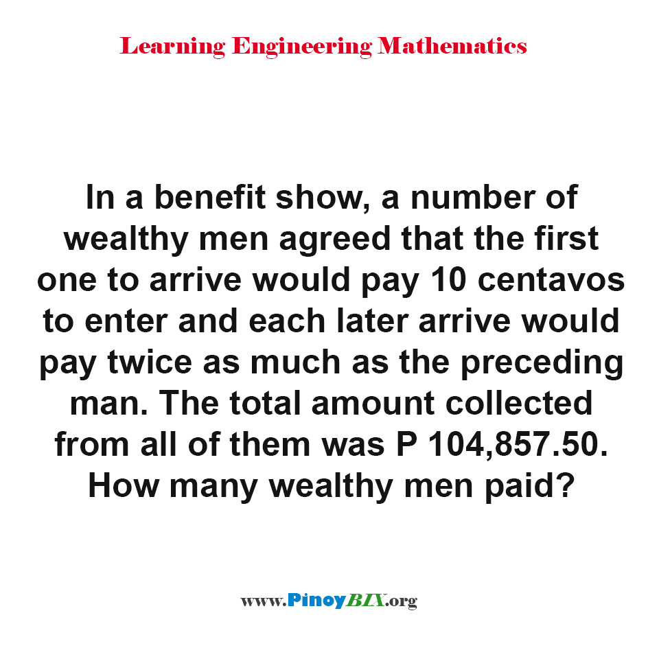 How many wealthy men paid?