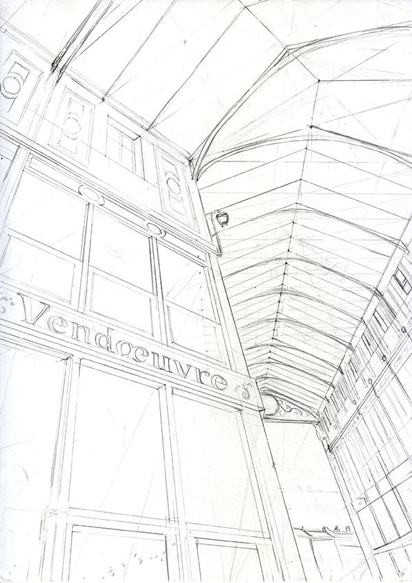 crayonné architecture - verrière en contreplongée