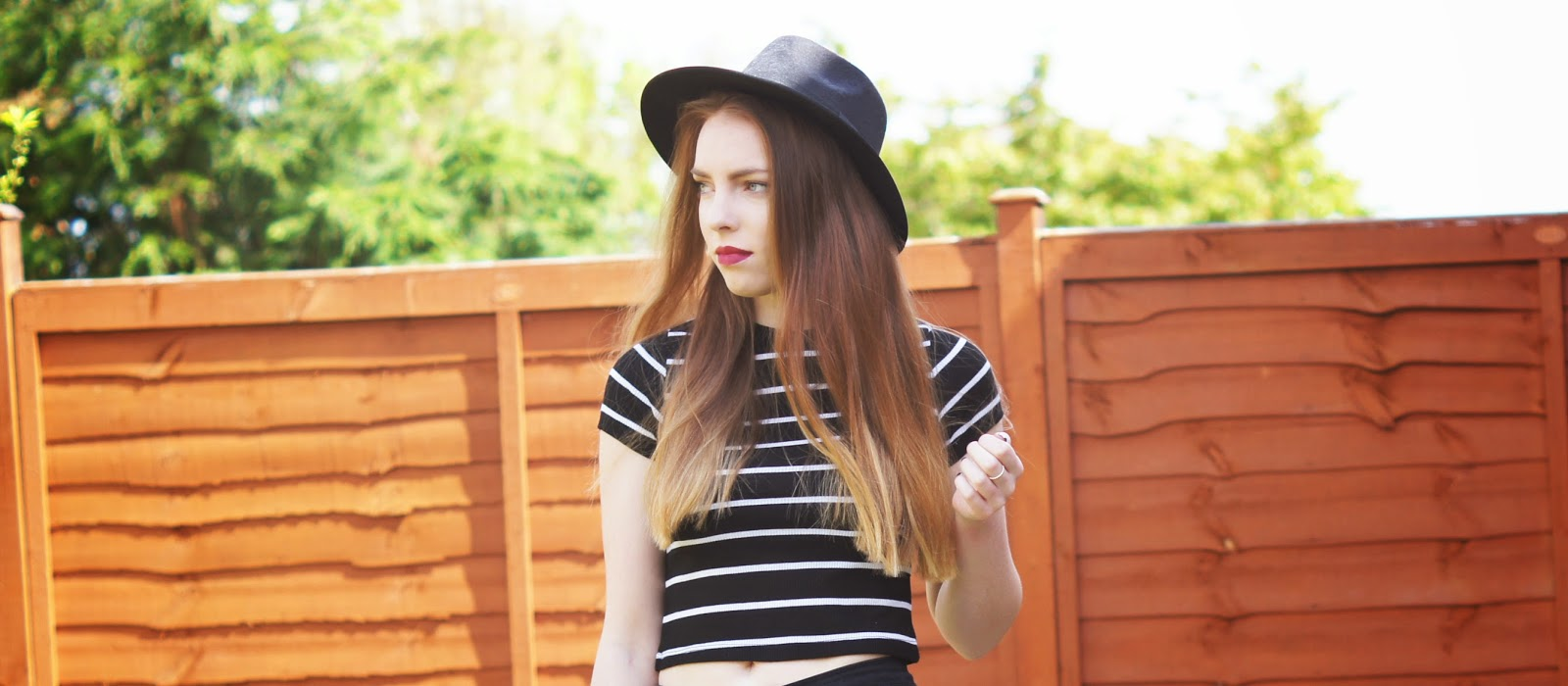 black fedora and dip dye hair