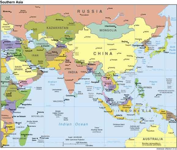 Kaart Azie Kaart Topografie Landen Azie