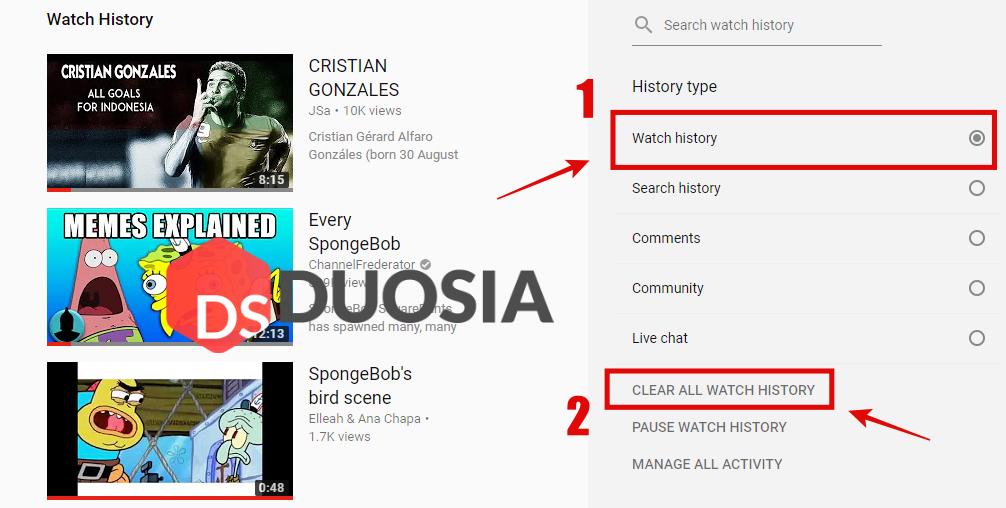 hapus semua riwayat video youtube pc