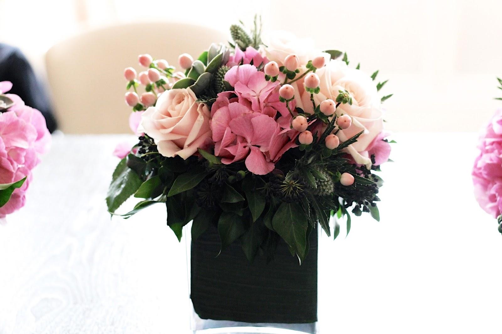 Pink floral centrepiece for informal dinnner